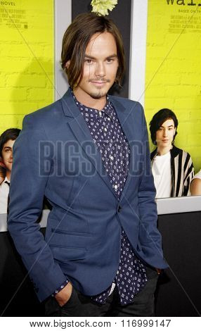 Tyler Blackburn at the Los Angeles premiere of 'The Perks Of Being A Wallflower' held at the ArcLight Cinemas in Hollywood, USA on September 10, 2012.