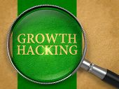 Growth Hacking through Loupe on Old Paper with Green Vertical Line Background. poster
