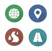 Map navigation flat design icons set. Cartography travel markers. Logistics application interface symbols. Gps location pin mark. City road and offroad long shadow silhouette signs. Vector infographic poster