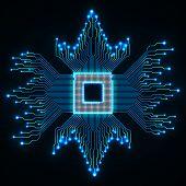 Cpu. Microprocessor. Microchip. Circuit board. Vector illustration. Eps 10 poster