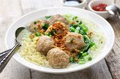 bakso, meatball soup with noodles, indonesian cuisine poster