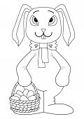 Holiday cartoon, rabbit bunny with a basket of Easter eggs, contour poster