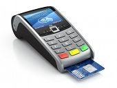 POS Terminal with credit card isolated on a white background poster