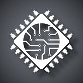Microchip icon vector  on a dark gray background with a shadow poster