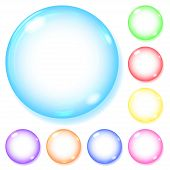 Set of opaque spheres of various colors with glares and shadows on white background poster