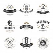 Barber Shop Logos Vector Templates Set. Labels, Badges and Design Elements. Barber shop Logo, Beauty Salon Logo, Hairdresser Logo. Barber Pole Silhouette, Scissors Silhouette, Razor Silhouette. poster