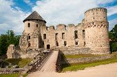 Ruins of the beautiful castle in town of Cesis was a residence of the Livonian order (teutonic knights) in the middle ages, Latvia poster