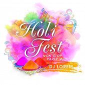 Colourful splash decorated Poster, Banner or Flyer design for Indian Festival, Holi Fest Party celebration. poster