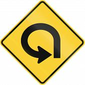 United States MUTCD warning road sign - 270 degree bend. poster