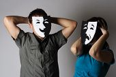 man and woman in theater black and white emotions masks half body poster
