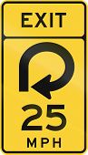 United States MUTCD road sign - Exit with advisory speed limit. poster