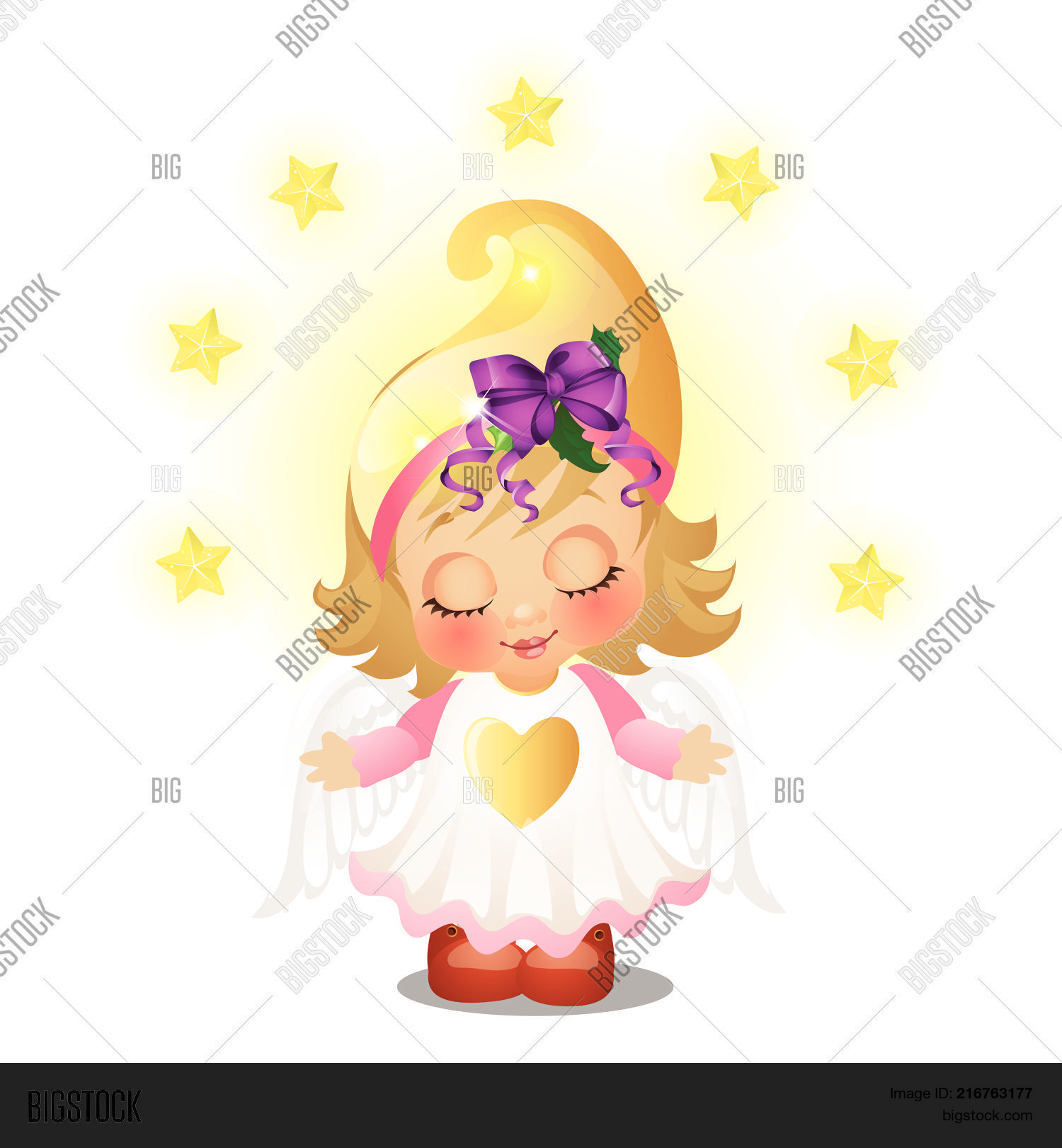 Cute animated girl with angel wings smiling with eyes closed isolated on white background sketch