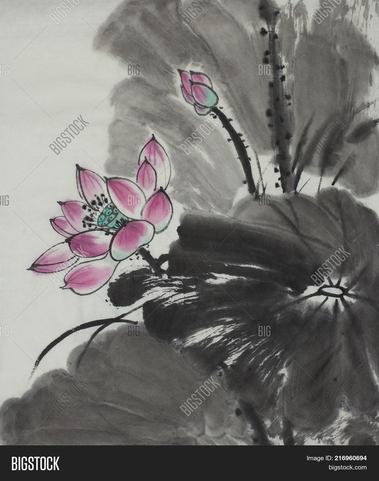 Bright lotus flower image photo free trial bigstock bright lotus flower painted in chinese style izmirmasajfo