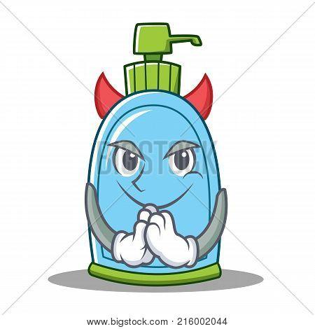 Devil liquid soap character cartoon vector illustration