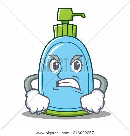 Angry liquid soap character cartoon vector illustration