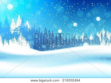 Night In Winter Forest Woodland Landscape Falling Snow Snowy Pine Tree Woods Background Flat Vector Illustration