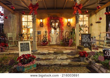 SAN ANTONIO, TEXAS - NOVEMBER 27, 2017 - small boutique entrance decorated for Christmas, located in La Villita. La Villita is an art community in downtown San Antonio, Texas.