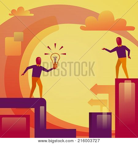 Abstract Business Man Holding Light Bulb New Startup Idea Sharing Concept Vector Illustration