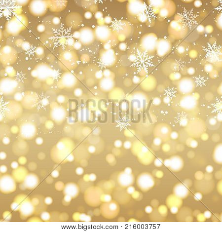 Happy New Year greeting card with defocused lights background and gold text. 2018. Vector.