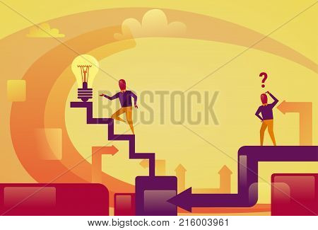 Successful Business Man Walking Upstairs To Light Bulb New Idea Innovation Concept Vector Illustration