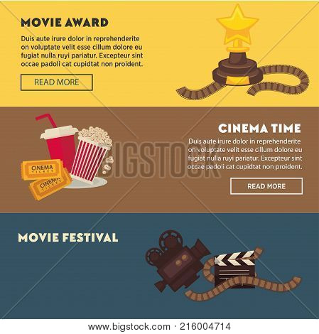 Retro cinema and movie premiere festival web banners flat design template. Vector vintage actor star award, video film camera, cinema ticket or 3D stereoscopic glasses and popcorn with soda on chair