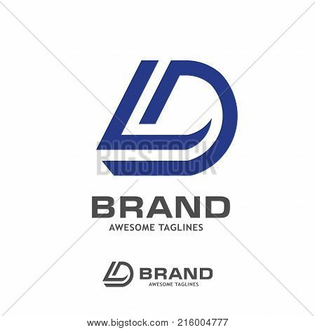 Letter DL logo icon design template elements. Logo initial letter D.Business corporate letter DLlogo design vector. Simple and clean flat design of letter DL logo vector template.