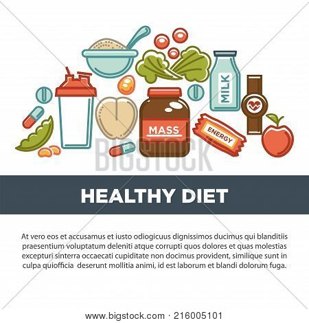 Sports nutrition and fitness gym dietary supplements poster. Vector protein shake drink in mixer, energy calorie carbohydrates bar and fat weight loss or vitamin pills