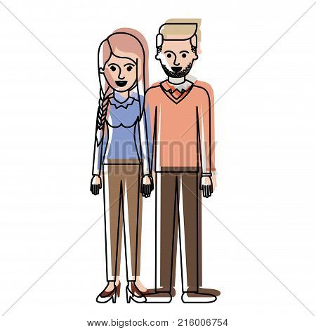 couple in watercolor silhouette and her with blouse long sleeve and pants and heel shoes with braid and fringe hairstyle and him stubble beard and sweater and pants and shoes with side parted hairstyle vector illustration