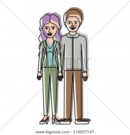 couple in watercolor silhouette and her with blouse and jacket and pants and heel shoes with wavy long hair and him with shirt and pants and shoes with short hair and moustache vector illustration