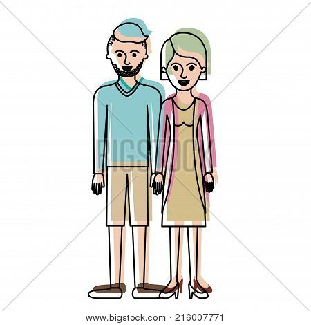 couple in watercolor silhouette and him with t-shirt long sleeve and short pants and shoes with high fade haircut and stubble beard and her with blouse and jacket and skirt and heel shoes with short hair vector illustration