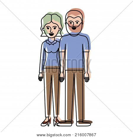 couple in watercolor silhouette and her with blouse long sleeve and pants and heel shoes with short wavy hair and him with t-shirt and pants and shoes with short hair and beard vector illustration
