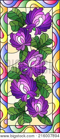Illustration in stained glass style with flowers buds and leaves of clover in a bright frame vertical orientation