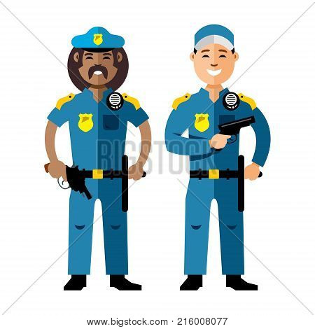 Cops in uniform. Isolated on a white background