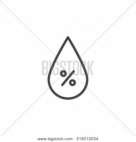 Humidity drop line icon, outline vector sign, linear style pictogram isolated on white. Barometer meteorology weather symbol, logo illustration. Editable stroke