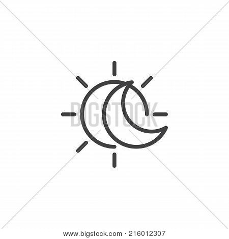 Eclipse with sun and crescent moon line icon, outline vector sign, linear style pictogram isolated on white. Solar eclipse symbol, logo illustration. Editable stroke