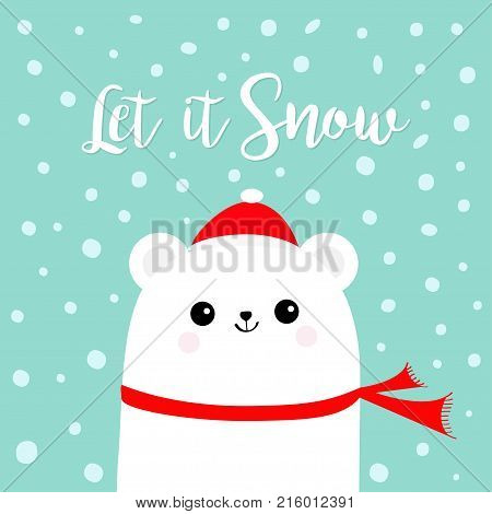 Let it snow. Polar white bear cub wearing red Santa Claus hat scarf. Head face. Cute cartoon smiling baby character. Arctic animal collection. Flat design Winter background Snow flake. Vector