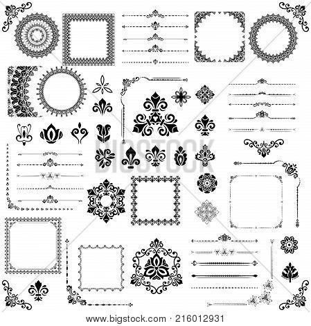 Vintage set of vector horizontal, square and round elements. Different elements for decoration design, frames, cards, menus, backgrounds and monograms. Set of classic vintage patterns