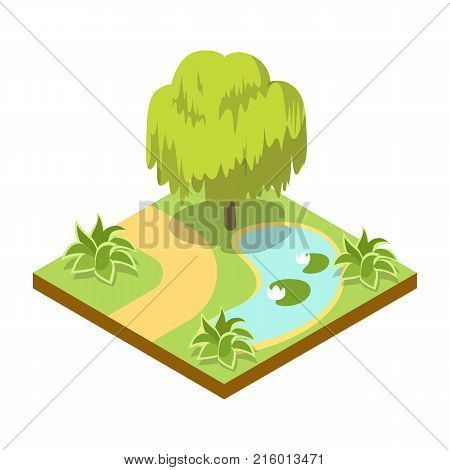 Green willow tree near lake isometric 3D icon. Public park decorative tree and green grass vector illustration. Nature map element for summer parkland landscape design.