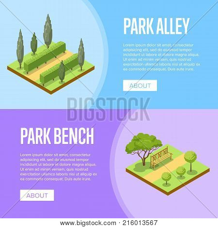 Park landscape design isometric posters. Green alley with grass, bushes, trees and wooden bench. Public parkland zone with decorative plants, outdoor natural area recreation vector illustration.