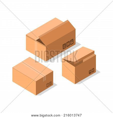 Delivery cardboard boxes icon set. Shipping tare, goods package collection vector illustration isolated on white background in flat style.