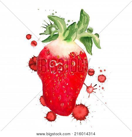 Watercolor Image Of Strawberry With Paint Drops On White Background