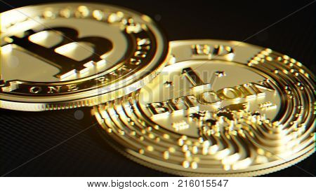 Bitcoin made of gold. Exclusive design. Lens distortion and chromatic effect 3D rendering.