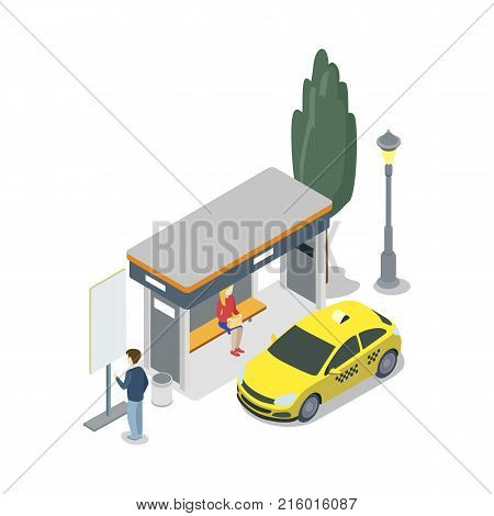 Taxi stop isometric 3D icon. City public transport, modern town waiting station, urban and countryside traffic concept with vehicle vector illustration.