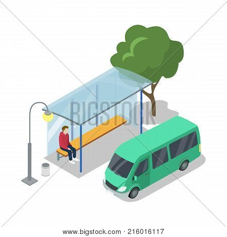 Shuttle van stop isometric 3D icon. City public transport, modern town waiting station, urban and countryside traffic concept with vehicle vector illustration.