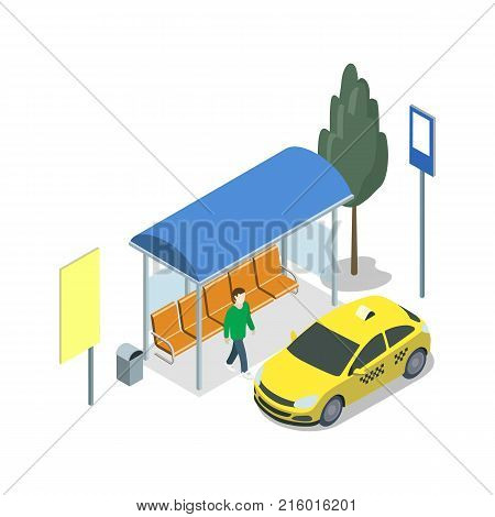Taxi waiting station isometric 3D icon. City public transport, modern town stop, urban and countryside traffic concept with vehicle vector illustration.