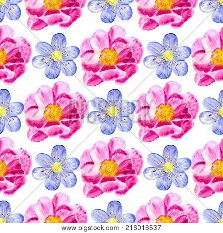 Seamless Pattern With Watercolor Flowers On White Background. Good Design For Textile Wallpaper Back