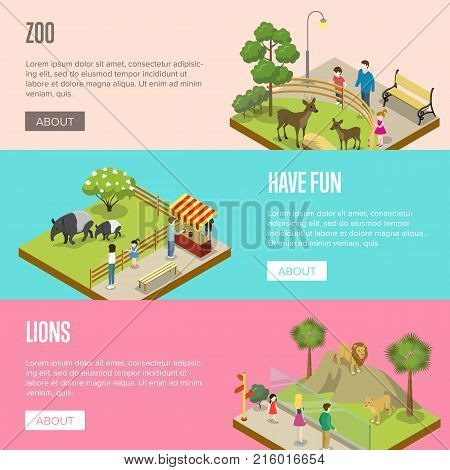 Public zoo with wild animals and visitors isometric posters. People near cages with tapirs, lions and deers. Zoo infrastructure elements for landscape design, outdoor recreation vector illustration