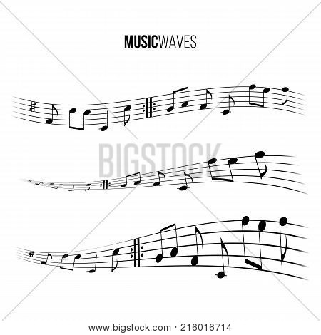 Music wave set. Vector music design elements