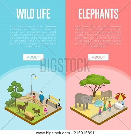 Public zoo with wild animals and visitors isometric posters. People near cages with elephants and deers. Zoo infrastructure design elements, wildlife concept, outdoor recreation vector illustration
