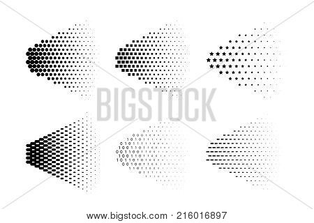 Vector spray halftone made of different symbols. Spray halftone set